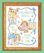 Janlynn Sleepy Bunnies Birth Announcement Birth Sampler Cross Stitch Kit