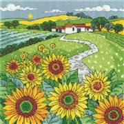 Heritage Sunflower Landscape - Evenweave Cross Stitch Kit