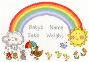Bothy Threads Rainbow Baby Birth Sampler Cross Stitch Kit