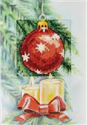 Orchidea Red Bauble Christmas Card Making Cross Stitch Kit