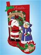 Design Works Crafts Mr and Mrs Claus Stocking Christmas Craft Kit