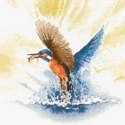 Kingfisher in Flight - Evenweave - Heritage Cross Stitch Kit
