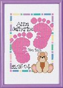 Janlynn Baby Footprints Birth Announcement Birth Sampler Cross Stitch Kit