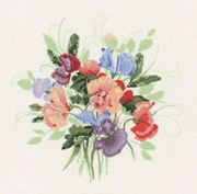 Heritage Sweet Pea Posy - Aida Cross Stitch Kit